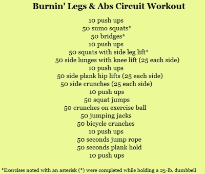 One of the best legs and abs circuits I've every done.